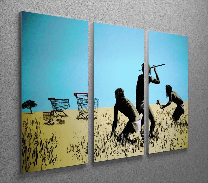 Banksy Aborigine Hunters 3 Split Panel Canvas Print - Canvas Art Rocks