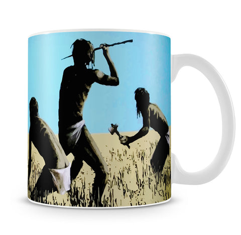 Banksy Aborigine Hunters Mug - Canvas Art Rocks