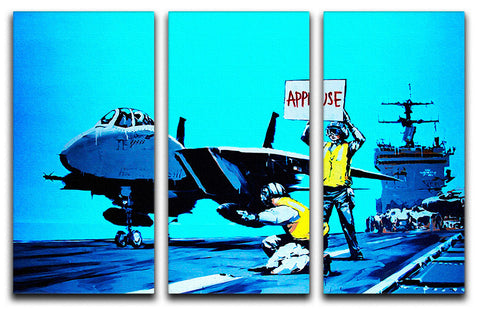Banksy Aircraft Carrier Applause 3 Split Panel Canvas Print - Canvas Art Rocks