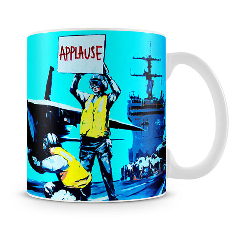 Banksy Aircraft Carrier Applause Mug - Canvas Art Rocks