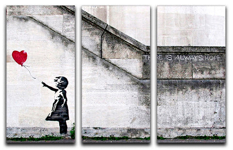 Banksy There Is Always Hope 3 Split Canvas Print - They'll Love Wall Art