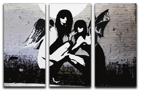 Banksy Angels In Moonlight 3 Split Panel Canvas Print - Canvas Art Rocks