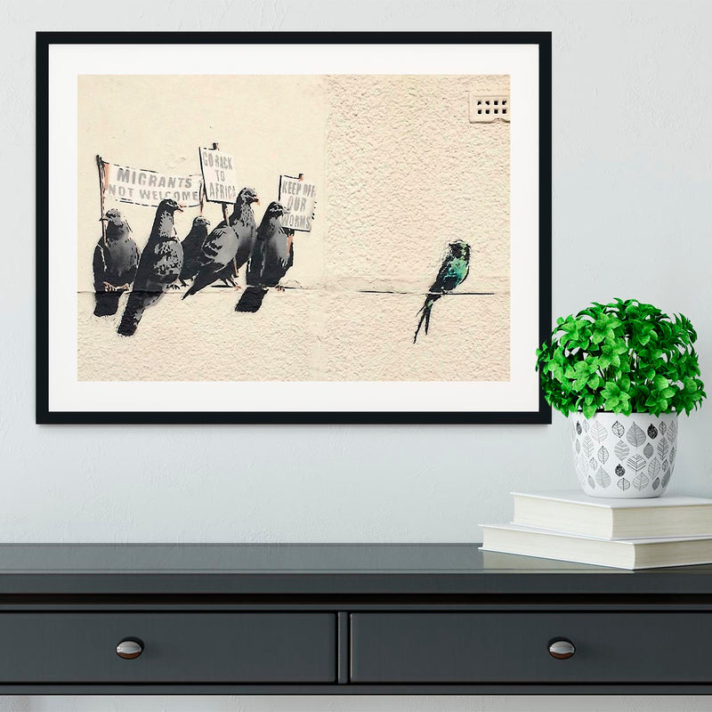 Banksy Anti-Immigration Birds Framed Print - Canvas Art Rocks - 1