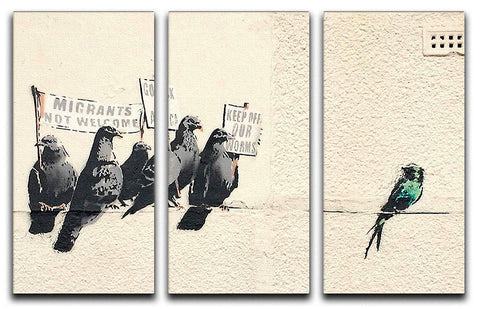 Banksy Anti-Immigration Birds 3 Split Canvas Print - Canvas Art Rocks