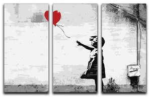 Banksy Balloon Girl Love Heart 3 Split Panel Canvas Print - Canvas Art Rocks - 1