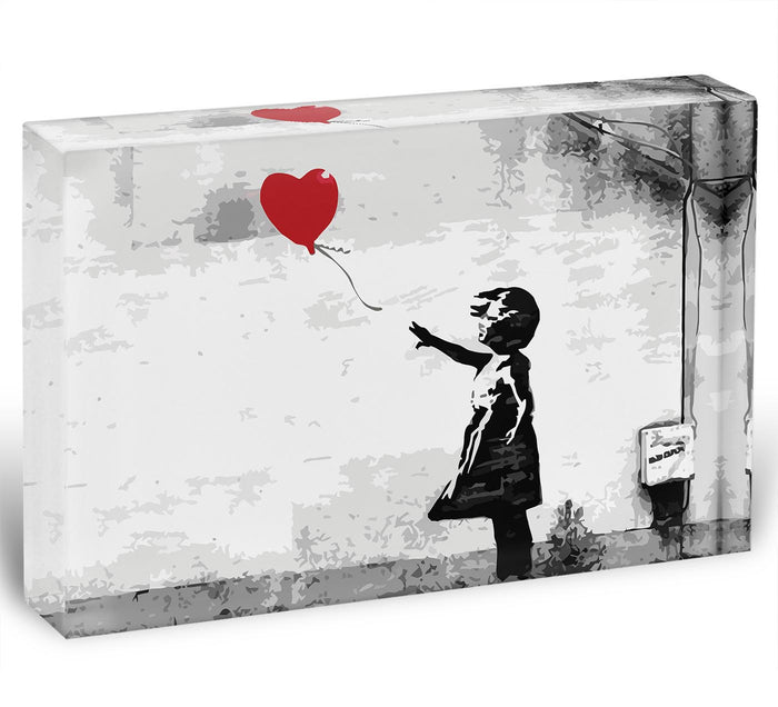 Banksy Balloon Girl Love Heart Acrylic Block