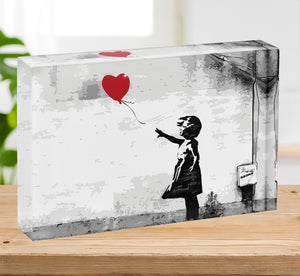 Banksy Balloon Girl Love Heart Acrylic Block - Canvas Art Rocks - 2