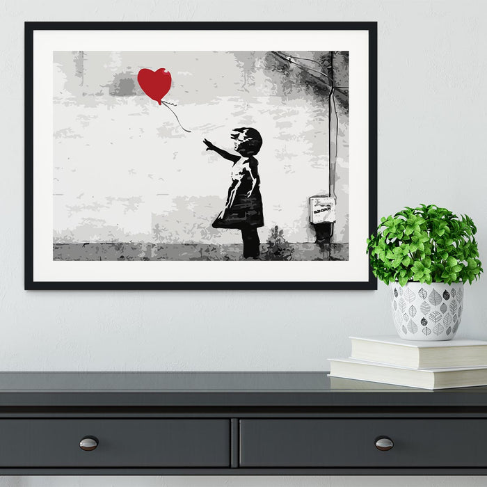 Banksy Balloon Girl Love Heart Framed Print