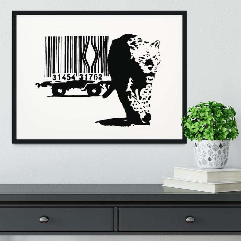 Banksy Barcode Leopard Framed Print - Canvas Art Rocks - 1