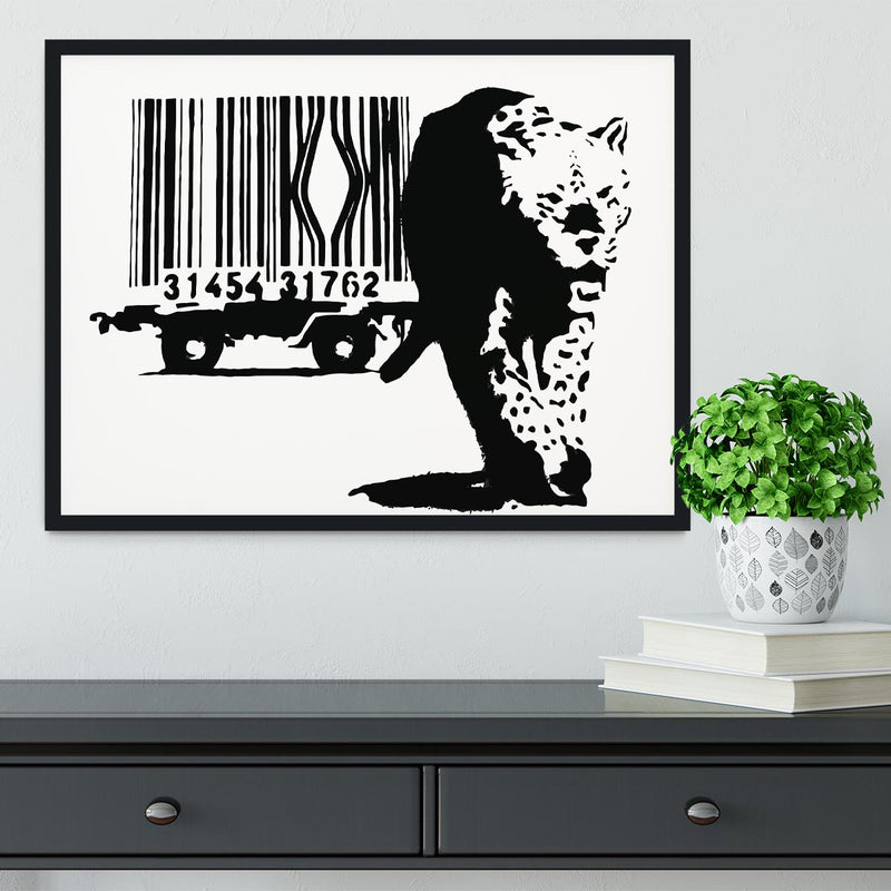 Banksy Barcode Leopard Framed Print - Canvas Art Rocks - 2