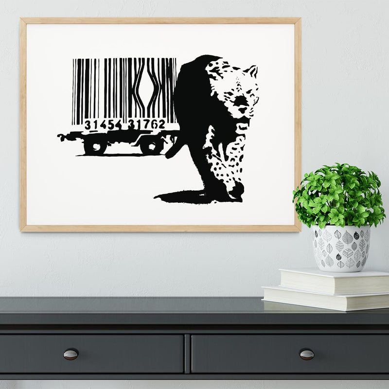 Banksy Barcode Leopard Framed Print - Canvas Art Rocks - 3
