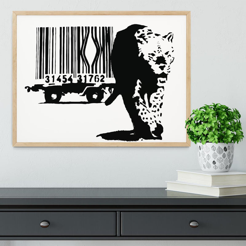 Banksy Barcode Leopard Framed Print - Canvas Art Rocks - 4