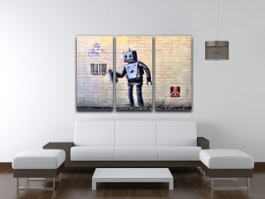 Banksy Barcode Robot 3 Split Panel Canvas Print - Canvas Art Rocks
