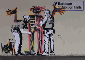 Banksy Basquiat Metropolitan Police Wall Mural Wallpaper - Canvas Art Rocks - 1