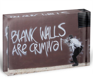 Banksy Blank Walls Are Criminal Acrylic Block - Canvas Art Rocks - 1