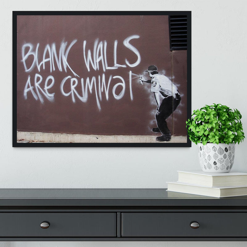 Banksy Blank Walls Are Criminal Framed Print - Canvas Art Rocks - 2