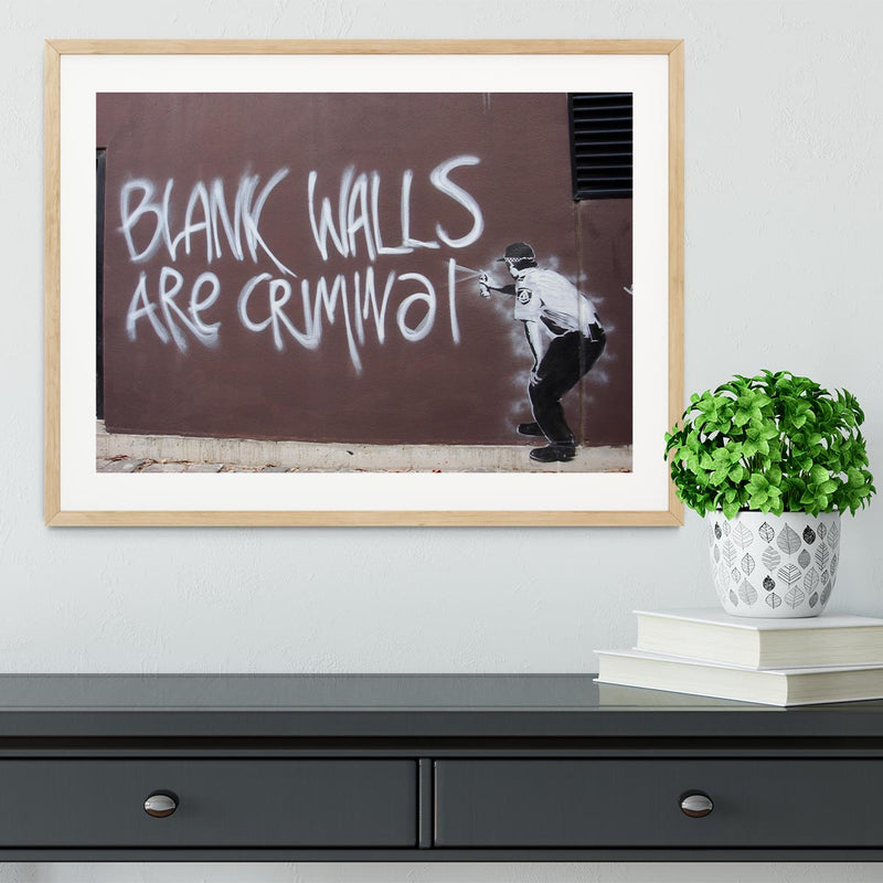 Banksy Blank Walls Are Criminal Framed Print - Canvas Art Rocks - 3