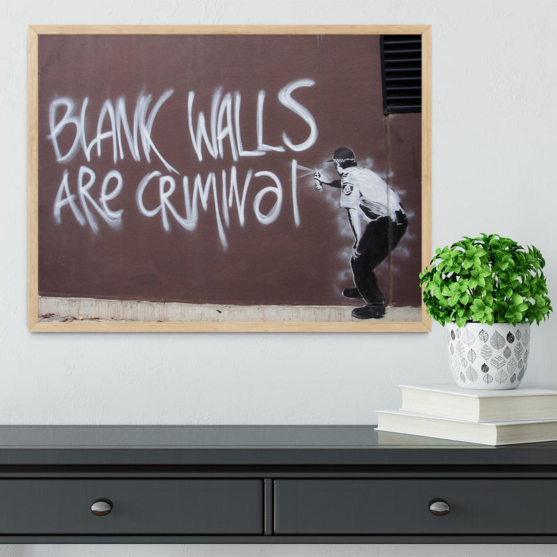 Banksy Blank Walls Are Criminal Framed Print - Canvas Art Rocks - 4