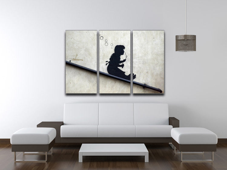 Banksy Bubble Slide 3 Split Panel Canvas Print - Canvas Art Rocks