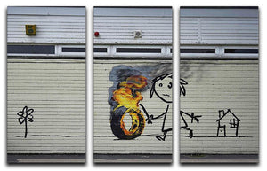 Banksy Burning Tyre 3 Split Panel Canvas Print - Canvas Art Rocks