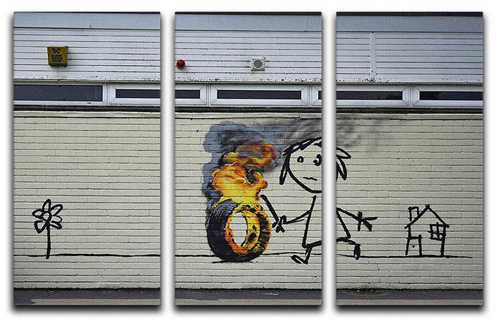 Banksy Burning Tyre 3 Split Panel Canvas Print