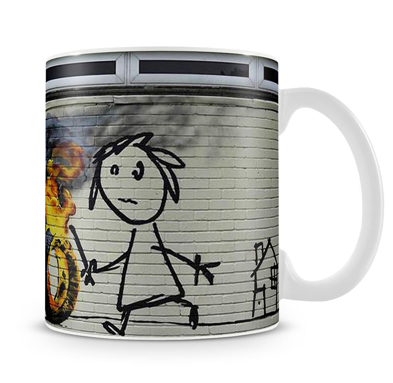 Banksy Burning Tyre Mug - Canvas Art Rocks