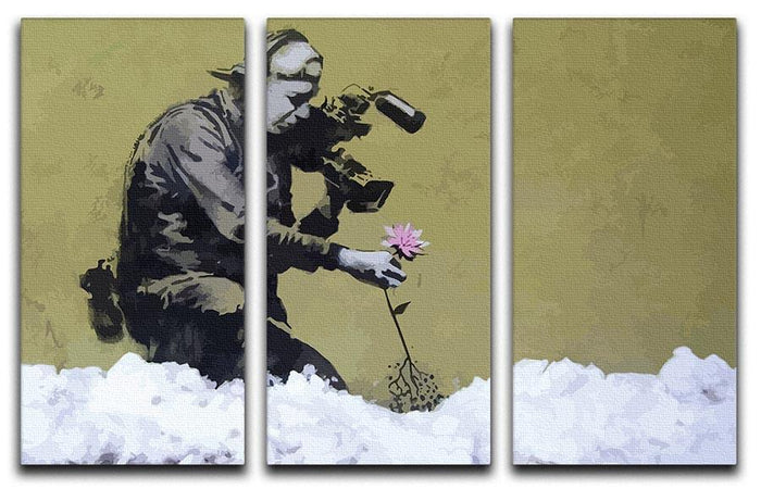 Banksy Cameraman and Flower 3 Split Panel Canvas Print