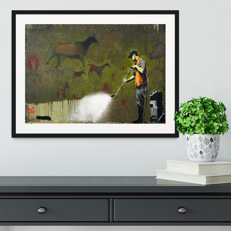Banksy Cave Graffiti Removal Framed Print - Canvas Art Rocks - 1