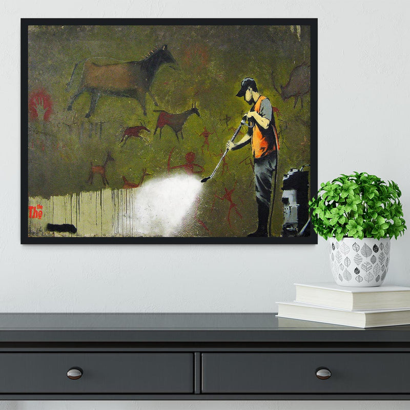 Banksy Cave Graffiti Removal Framed Print - Canvas Art Rocks - 2