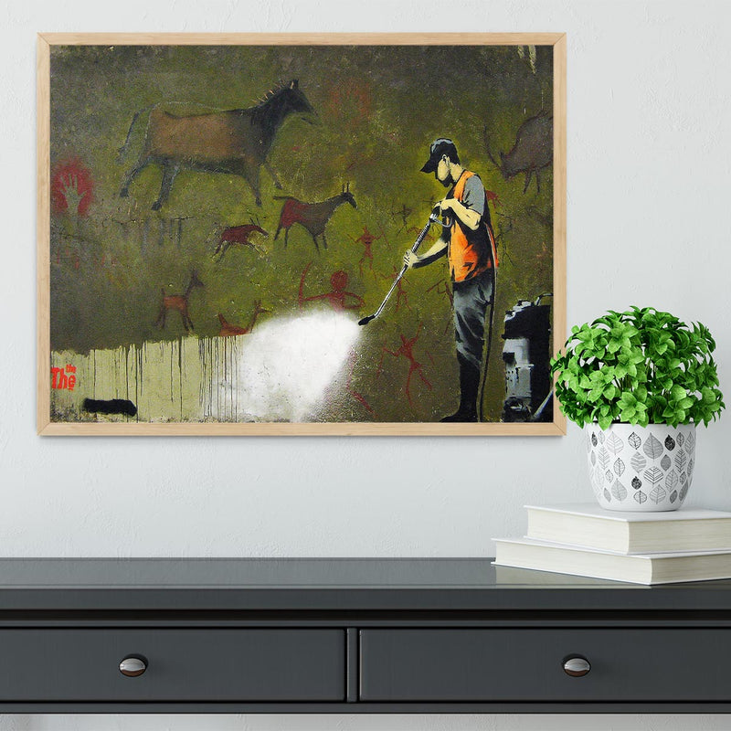 Banksy Cave Graffiti Removal Framed Print - Canvas Art Rocks - 4