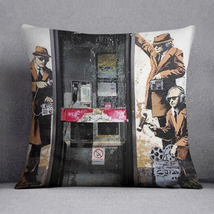 Banksy Cheltenham Telephone Box Spies Cushion