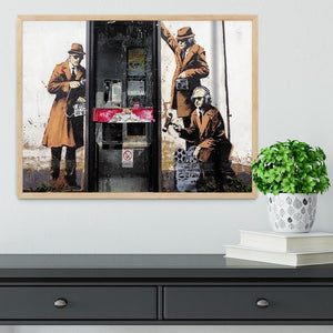 Banksy Cheltenham Telephone Box Spies Framed Print - Canvas Art Rocks - 4
