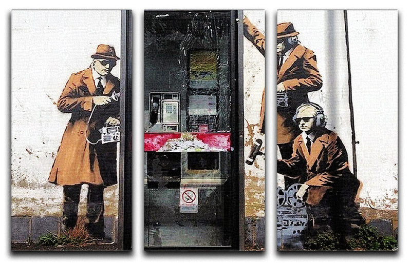 Banksy Cheltenham Telephone Box Spies 3 Split Canvas Print - Canvas Art Rocks