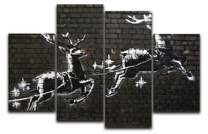 Banksy Christmas 4 Split Panel Canvas - Canvas Art Rocks - 1