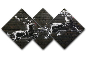 Banksy Christmas 4 Square Multi Panel Canvas - Canvas Art Rocks - 1