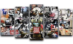 Banksy Collage 5 Split Panel Canvas  - Canvas Art Rocks - 1