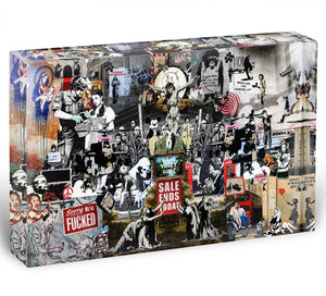 Banksy Collage Acrylic Block - Canvas Art Rocks - 1