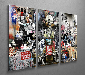 Banksy Collage 3 Split Panel Canvas Print - Canvas Art Rocks