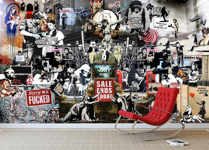 Banksy Collage Wall Mural Wallpaper - Canvas Art Rocks - 2