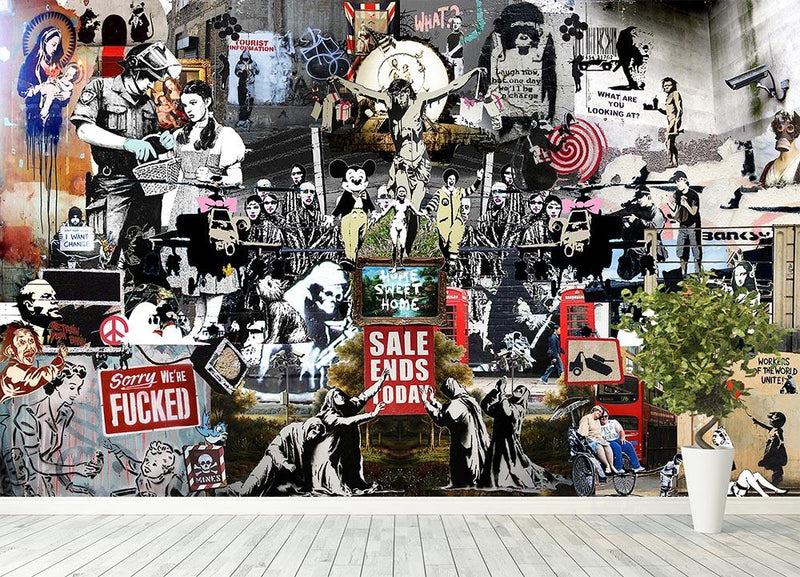Banksy Collage Wall Mural Wallpaper - Canvas Art Rocks - 4