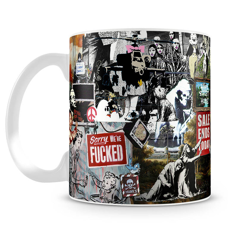 Banksy Collage Mug - Canvas Art Rocks