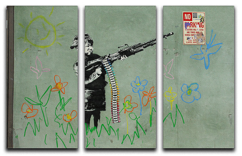 Banksy Crayon Child Soldier 3 Split Panel Canvas Print - Canvas Art Rocks
