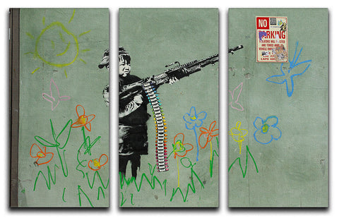 Banksy Crayon Child Soldier 3 Split Panel Canvas Print
