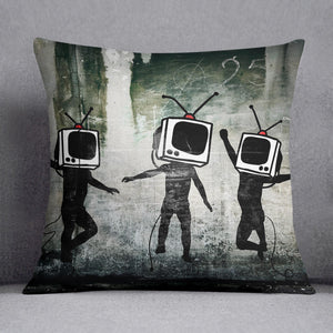 Banksy Dancing TV Heads Cushion