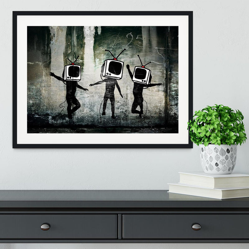 Banksy Dancing TV Heads Framed Print - Canvas Art Rocks - 1
