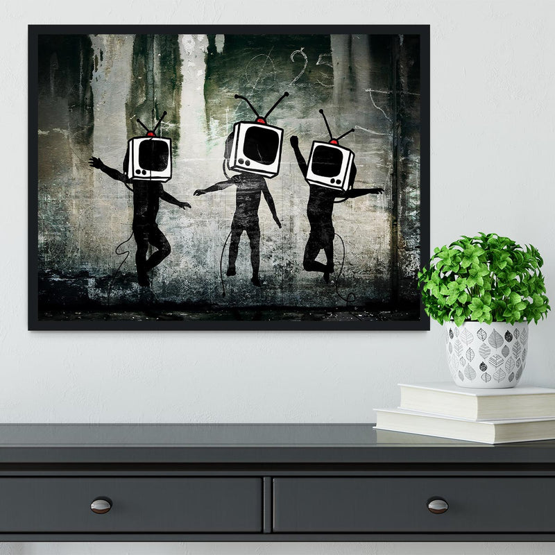 Banksy Dancing TV Heads Framed Print - Canvas Art Rocks - 2