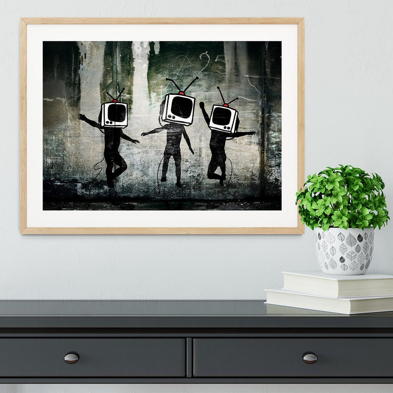 Banksy Dancing TV Heads Framed Print - Canvas Art Rocks - 3