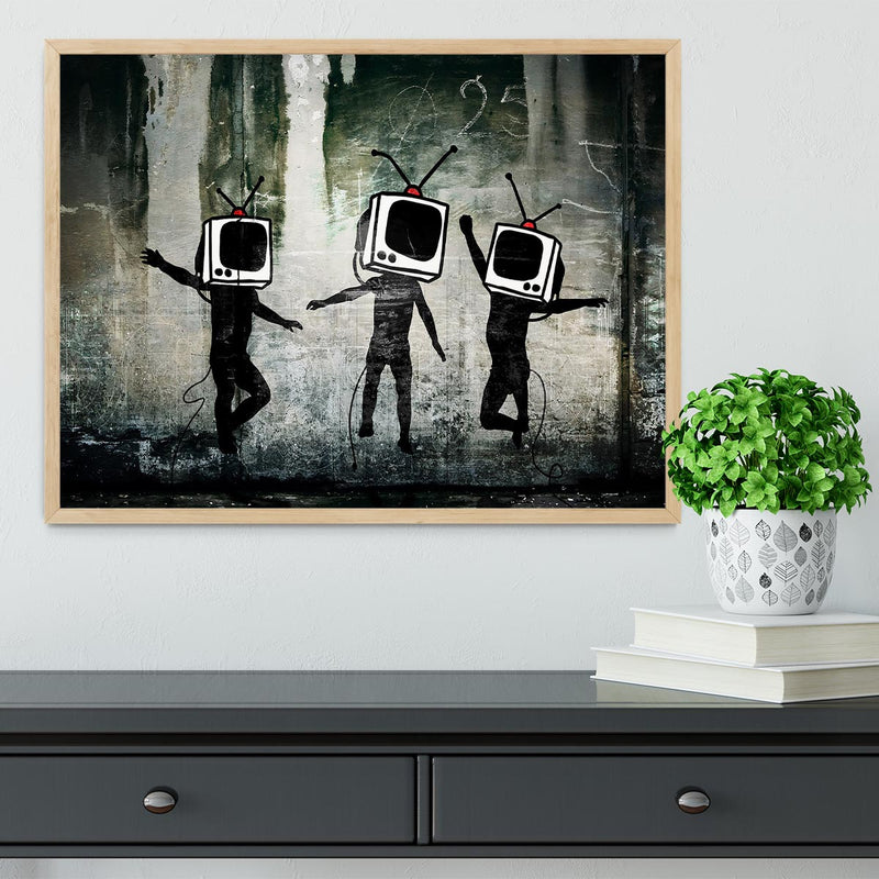 Banksy Dancing TV Heads Framed Print - Canvas Art Rocks - 4