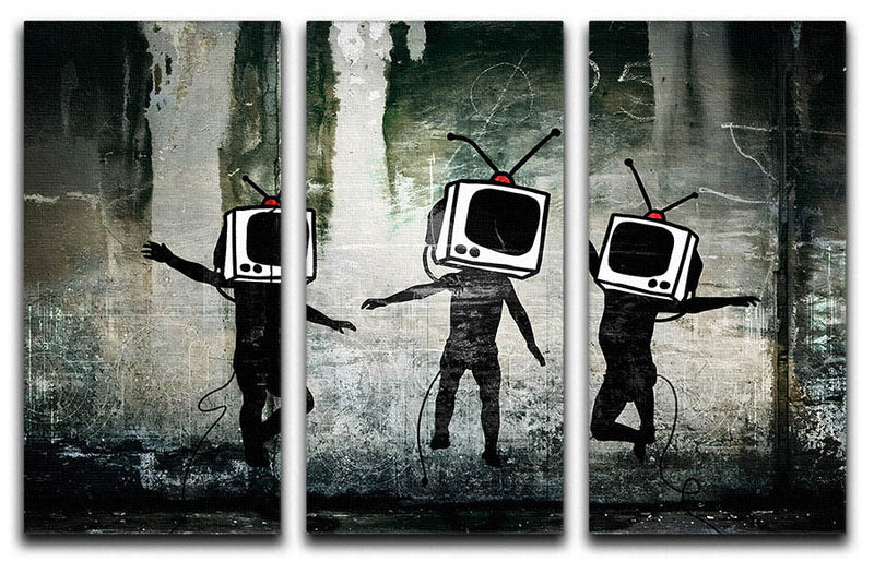Banksy Dancing TV Heads 3 Split Panel Canvas Print - Canvas Art Rocks