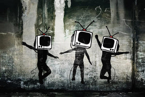 Banksy Dancing TV Heads Wall Mural Wallpaper - Canvas Art Rocks - 1